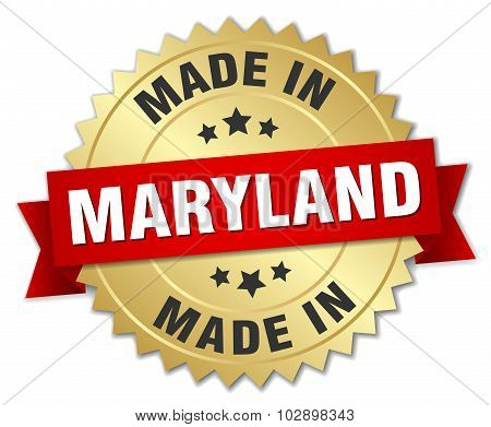 Made In Maryland Gold Badge With Red Ribbon