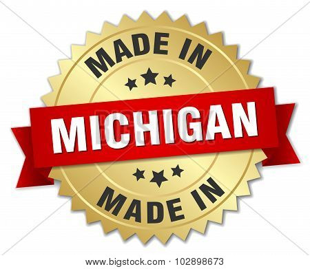 Made In Michigan Gold Badge With Red Ribbon