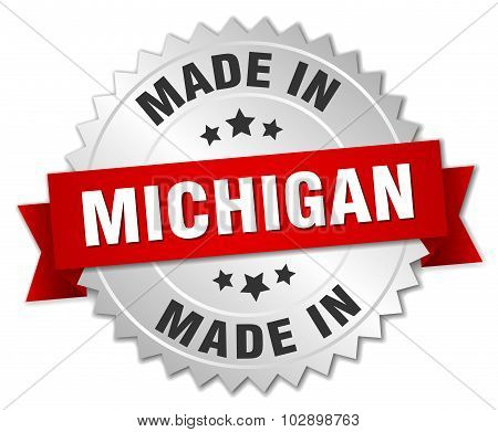 Made In Michigan Silver Badge With Red Ribbon