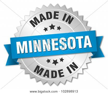 Made In Minnesota Silver Badge With Blue Ribbon