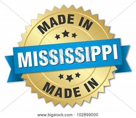 Made In Mississippi Gold Badge With Blue Ribbon