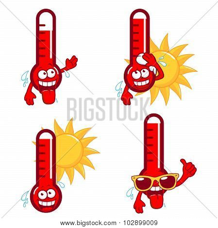 Cartoon hot thermometers