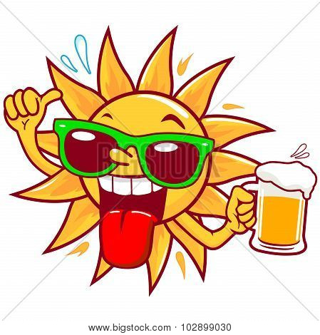 Cartoon sun drinking beer