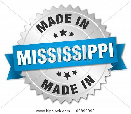 Made In Mississippi Silver Badge With Blue Ribbon