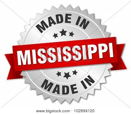 Made In Mississippi Silver Badge With Red Ribbon