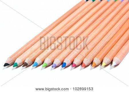 Close Up View Of Different Color Pencils Isolated On The White Background. Color Pencils Background.