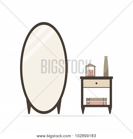 Big dressing mirror with nightstand isolated icon. Bedside table with candle, vase and books.