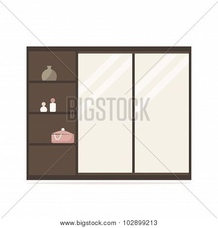 Closet isolated icon. Long wardrobe with mirror panels. Wooden furniture.