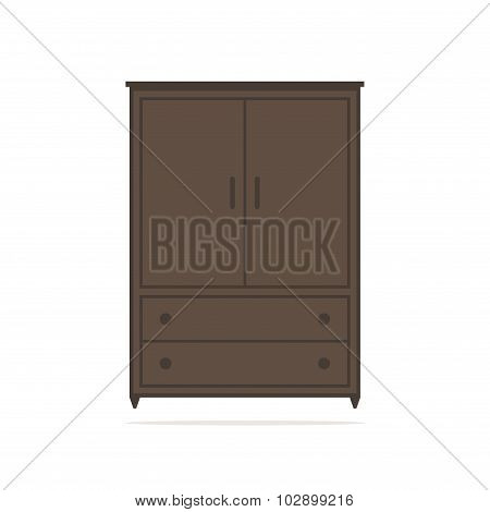 Wardrobe isolated icon. Brown wardrobe on white background. Big wardrobe.