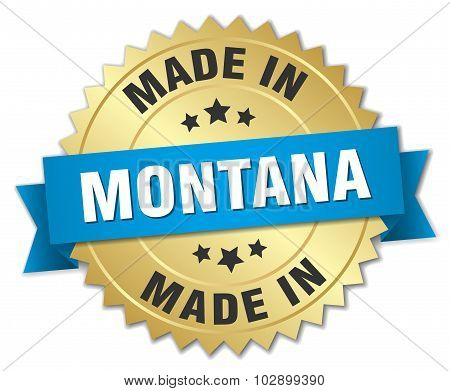 Made In Montana Gold Badge With Blue Ribbon