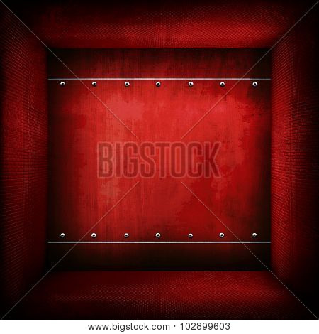 red metal interior background
