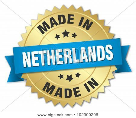 Made In Netherlands Gold Badge With Blue Ribbon