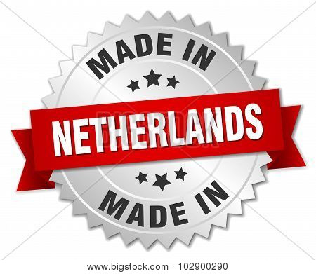 Made In Netherlands Silver Badge With Red Ribbon