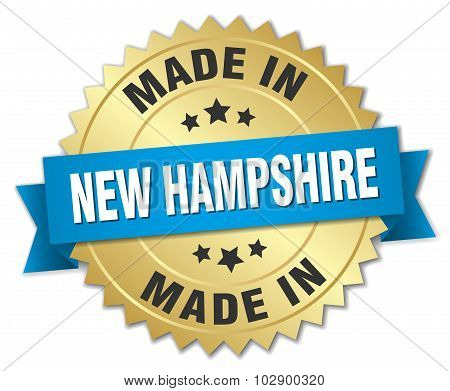 Made In New Hampshire Gold Badge With Blue Ribbon