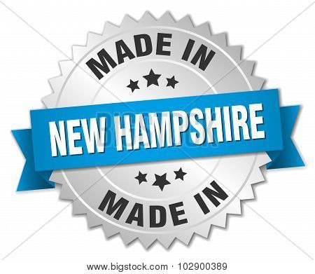 Made In New Hampshire Silver Badge With Blue Ribbon