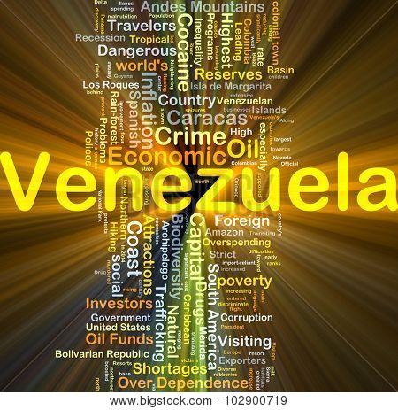 Background concept wordcloud illustration of Venezuela glowing light