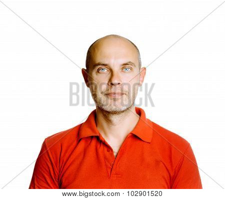 Unshaven Tranquil Middle-aged Man In A Red T-shirt. Studio. Isolated