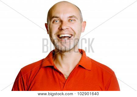 Unshaven Laughing Middle-aged Man In A Red T-shirt. Studio. Isolated