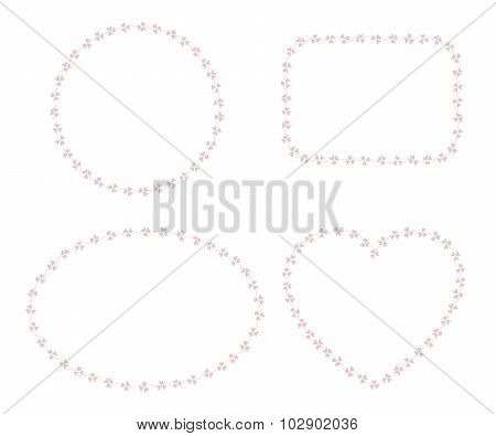 Set of 4 frames made of clover leaves isolated over white background.
