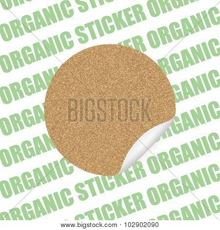 Organic Cork Natural Sticker, Tag ,sale  Label . Vector