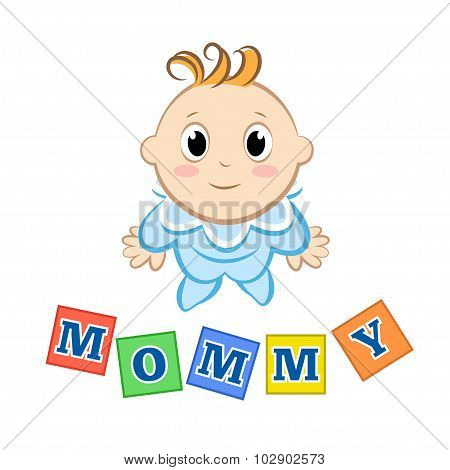 Cartoon Baby With An Inscription Blocks On White Background. Vector Illustration.