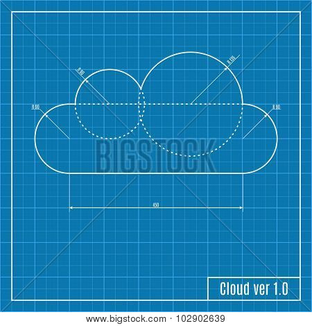 Blueprint Of Cloud. Vector Illustration.