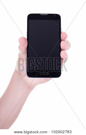 Mobile Smart Phone With Blank Screen In Male Hand Isolated On White