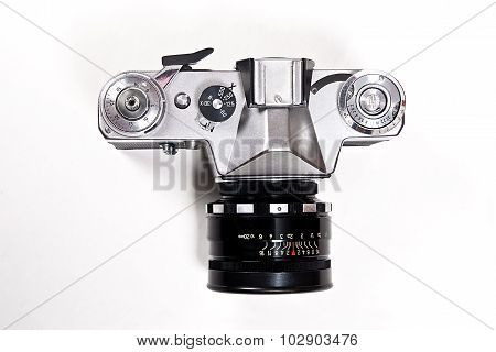 Old Range Finder Vintage Photo Camera On White Background.