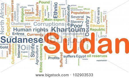 Background concept wordcloud illustration of Sudan
