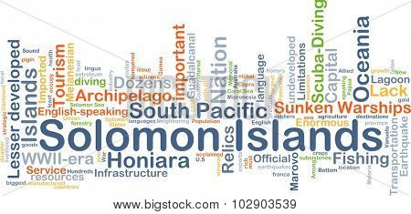 Background concept wordcloud illustration of Solomon Islands