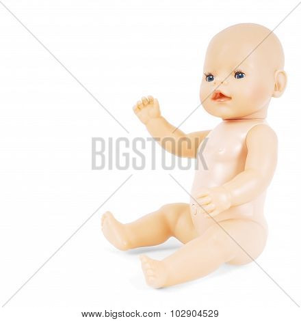 Little Naked Girl Baby Doll With Blue Eyes Waving Towards White