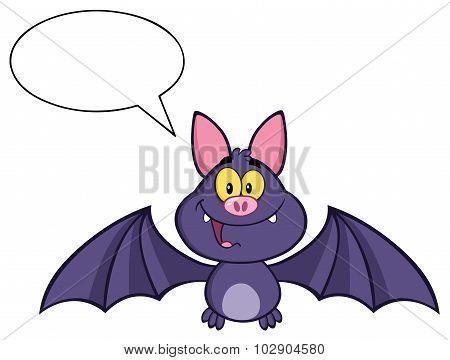Happy Vampire Bat Character Flying With Speech Bubble