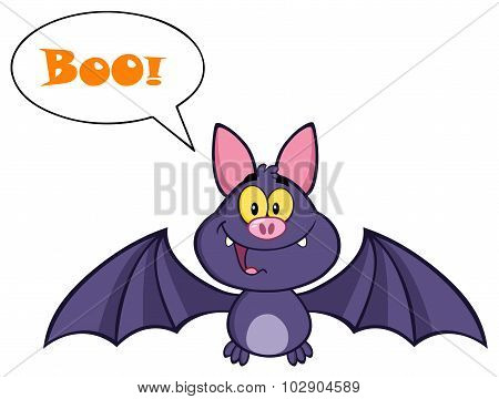 Vampire Bat Character Flying With Speech Bubble And Text