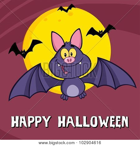 Funny Vampire Bat Character Flying