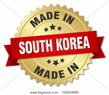 Made In South Korea Gold Badge With Red Ribbon