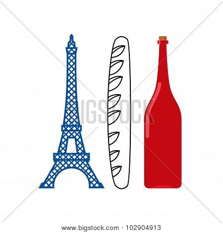 France Flag Of Tourist Attractions In Ountry:  Eiffel Tower, Crisp Baguette And Bottle Of French Win