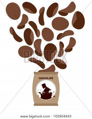 Chocolate Chips. Unusual Snacks For Sweet Tooth. Fly Brown Chips Out Of  Pack. Delicacy For Sweet Lo