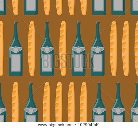 French Seamless Patern. Baguette And Wine. Vector Background Of National Food France