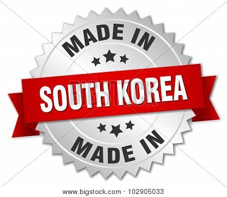 Made In South Korea Silver Badge With Red Ribbon