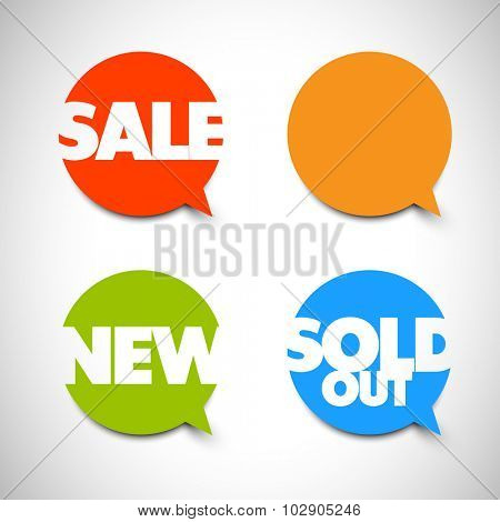 Speech bubble pointers for your shop: sale, new, sold out items