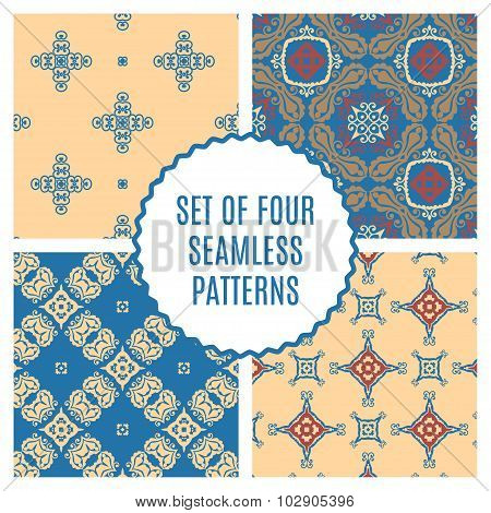 Vector Set Of Four Seamless Vintage Patterns.