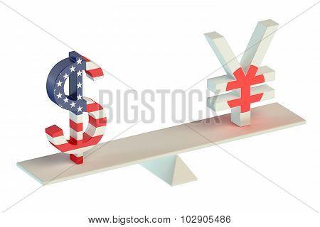 Dollar Or Yen, Usd/jpy Balance Concept
