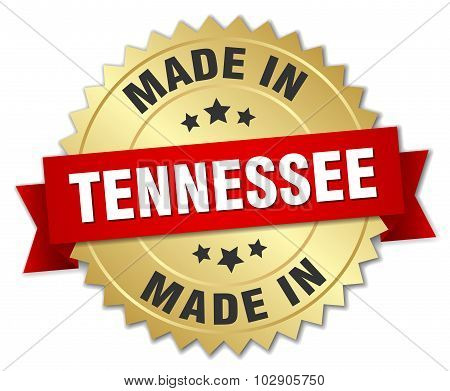 Made In Tennessee Gold Badge With Red Ribbon