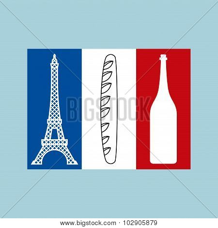 French Tricolor Flag Of National Features Of Country:  Eiffel Tower, Baguette And  Bottle Of Wine. T