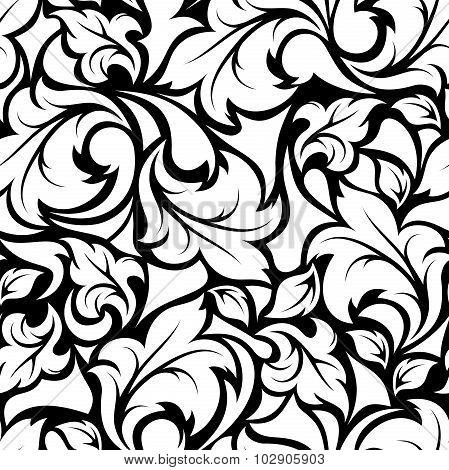 Vintage seamless black and white floral pattern. Vector illustration.