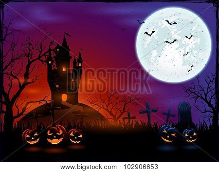 Castle And Halloween Pumpkins