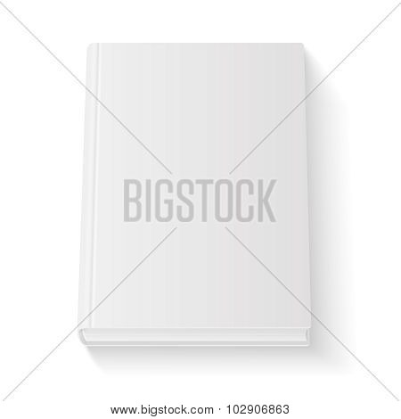 Blank book cover template on white background with soft shadows. Perspective view. Vector illustrati