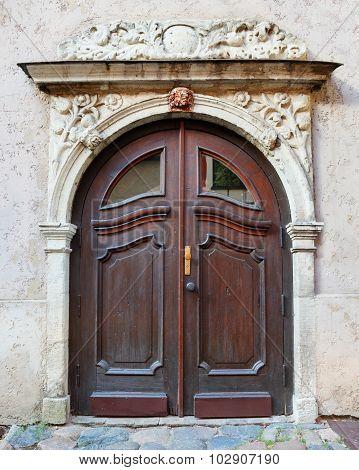 Vintage Entrance Door On A Building Facade In Old Riga City, Latvia.