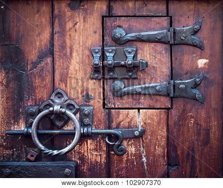 Fragment Of Ancient Door Closeup