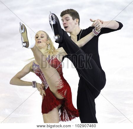 BARCELONA - DEC, 11: Anna Yanovskaya and Sergey Mozgov from Russia during Junior Pairs Ice Dance event of ISU Grand Prix of Figure Skating Final 2014 at CCIB on December 11, 2014 in Barcelona, Spain